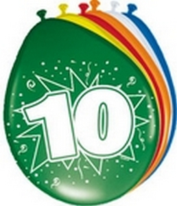 Ballonnen folatex 30 cm. 10 jaar 8st. a12