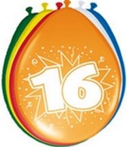 Ballonnen folatex 30 cm. 16 jaar 8st. a12