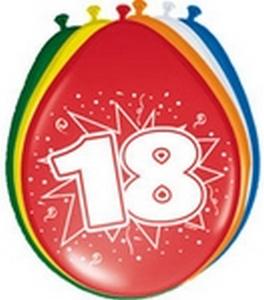 Ballonnen folatex 30 cm. 18 jaar 8st. a12