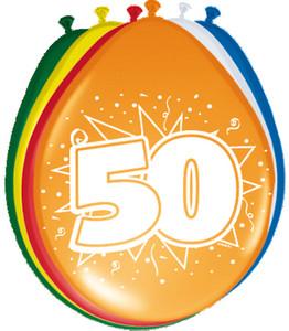 Ballonnen folatex 30 cm. 50 jaar 8st. a12