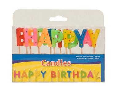Kaarsjes happy birthday/1stk a12