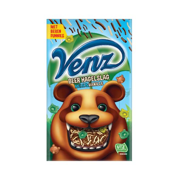 Venz chocoladehagelslag beer melk/vanille 380 gr