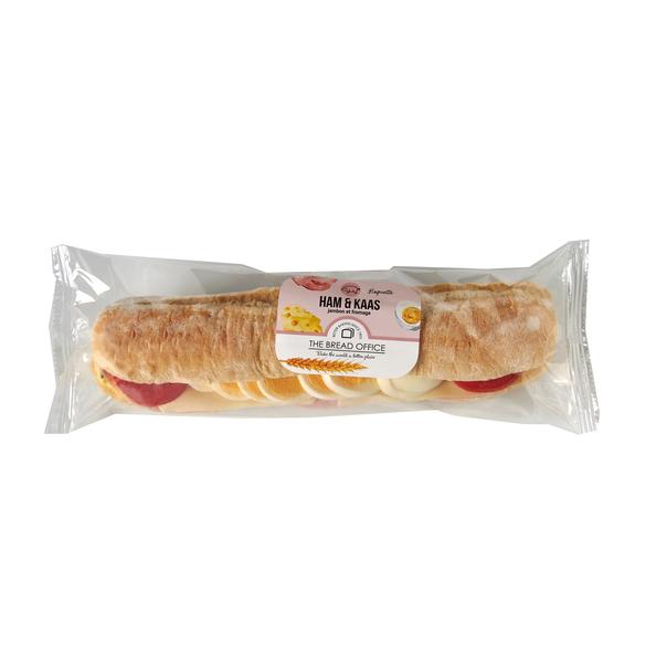 The Bread Office baguette ham/kaas tomaat wit 208 gr lang houdbaar