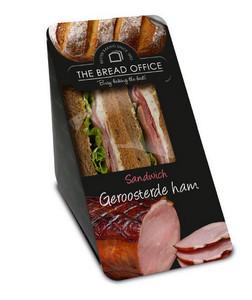 The Bread Office sandwich cardboard geroosterde ham meergranen 142 gr kort houdbaar