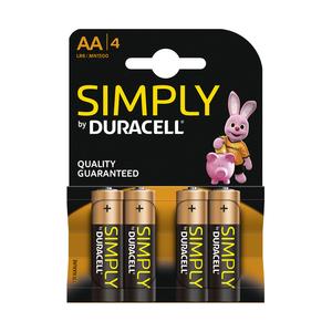 Duracell simply alkaline AA/LR6 blister 4 stuks
