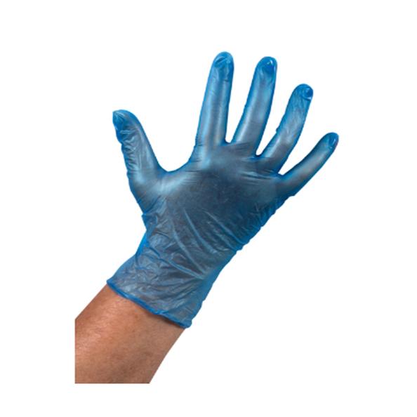 Handschoen vinyl blauw ongepoederd L a100