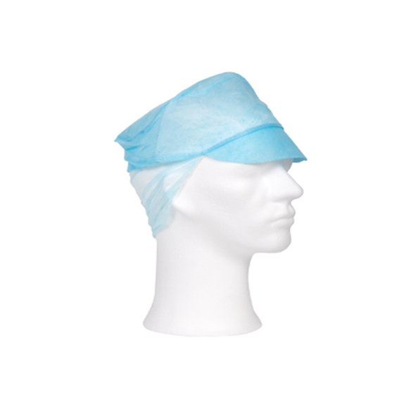 Non woven baret met klep en haarnet 53 cm blauw a100