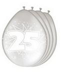Ballonnen folatex 30 cm. 25 zilver 8st. a12