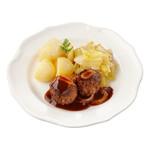Dinnerland Rundergehaktbal in jus. witlof a la creme en gekookte aardappelen 605gr.