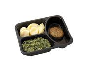 Dinnerland Half om half gehaktbal in jus. andijvie a la creme en gekookte aardappelen 585gr.