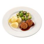 Dinnerland Oma's gehaktbal in jus. spruitjes-amandel en gekookte aardappelen 470 gr