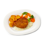 Dinnerland Gepaneerde kipschnitzel in jus. broccolimix en gebakken aardappel rosti 470gr.