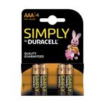 Duracell simply alkaline AAA/LR03 blister 4 stuks
