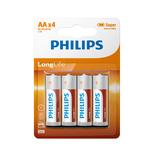 Philips longlife zinc AA/R6 blister 4 stuks