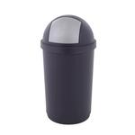 Afvalbak met pushdeksel blauw/zilver 45 liter