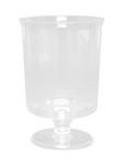 Plastic wijnglas op voet helder 170cc. a12