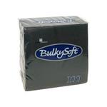 Bulkysoft 2 laags servetten 24x24cm 1/4 pure cellulose zwart 30x100st