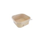 Saladebak bamboepapier vierkant + deksel pet 1.25 liter