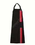 Schort met vertikale contraststreep zwart/rood